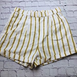 Love Tree striped linen cuffed shorts size Large